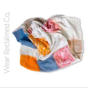 VINTAGE Crocheted Cotton Colour Block Baby Blanket